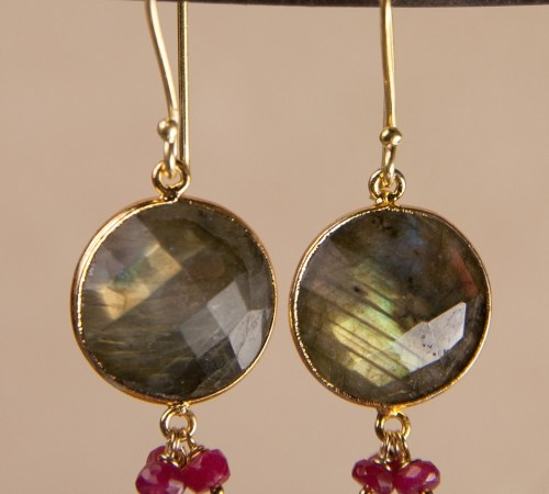 Round Labradorite Earrings with 3 ruby Dangles