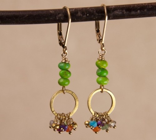 Jill's Earrings with 3  Green Turquoise