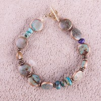 Turquoise Wrapped in Copper Bracelet