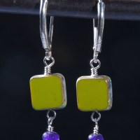 Czech Crystal squares with Purple Jade