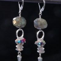 Labradorite Multistone Silver Dart Earrings