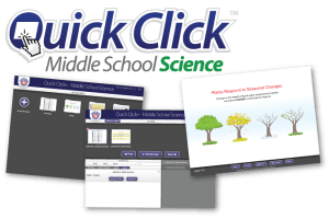 Screenshots of Quick Click's main menu with 4 example stacks, the stack-building interface, and a slide on seasonal changes