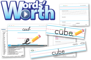 Screenshots from Words' Worth including examples of the handwriting module, a demo of a green pencil, student worksheets, and a quiz sheet