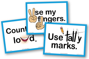 3 example posters from Operation Options: Count Out Loud, Use My Fingers, and Use Tally Marks