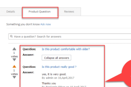 view question on product page magento 2