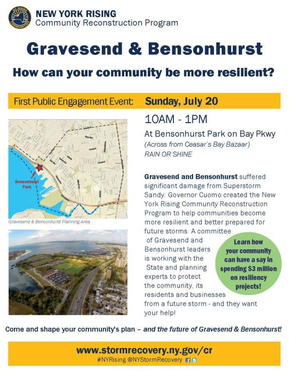 Flyer for Gravesend & Bensonhurst Public Engagement Meeting #1
