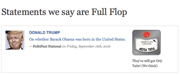 """An item sorting according to category """"Fully flopped"""". Source: PolitiFact"""
