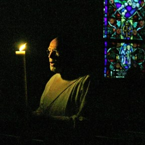 Bringing the Light into the church.