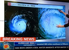 Picture taken from TV during Hurricane Irma.