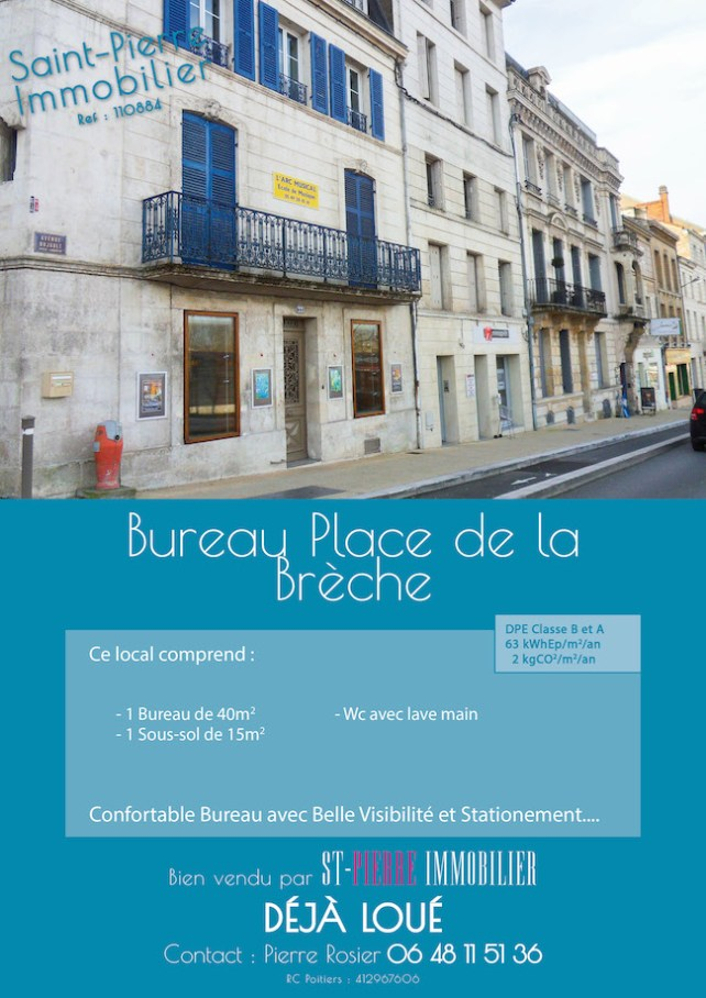 location bureau local commercial place breche niort