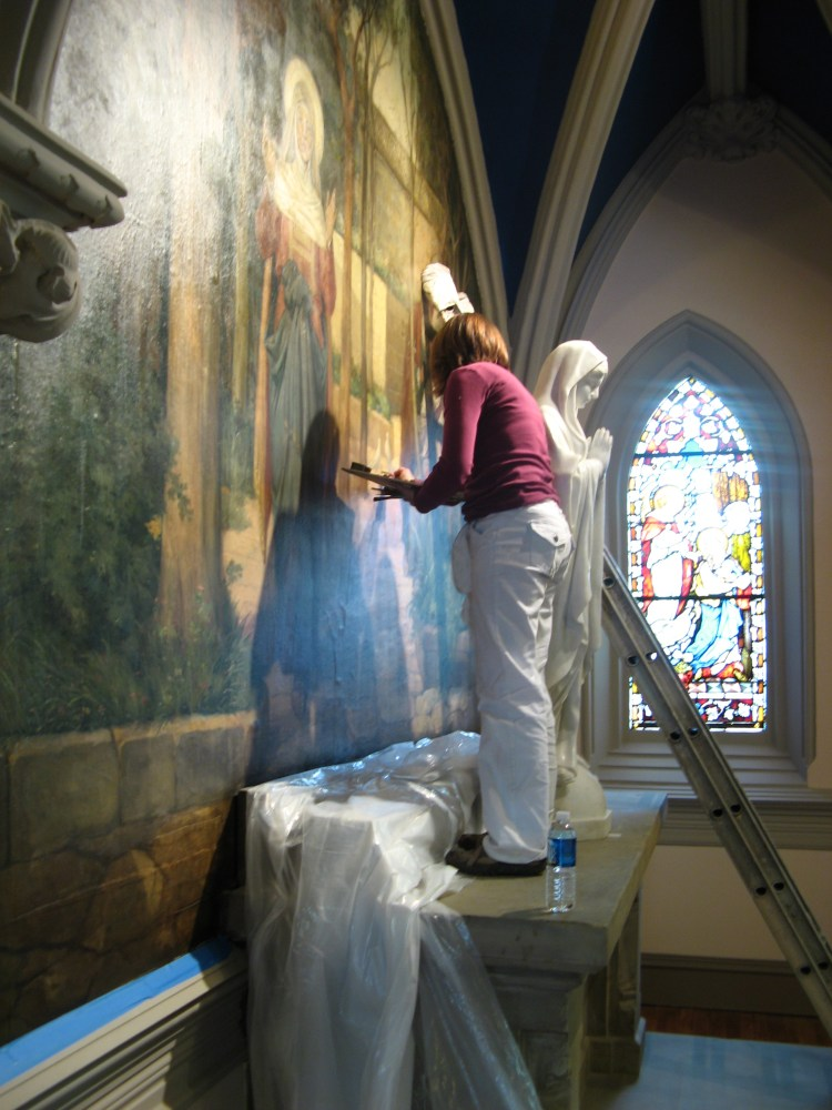 Strazza Restoring Church Mural