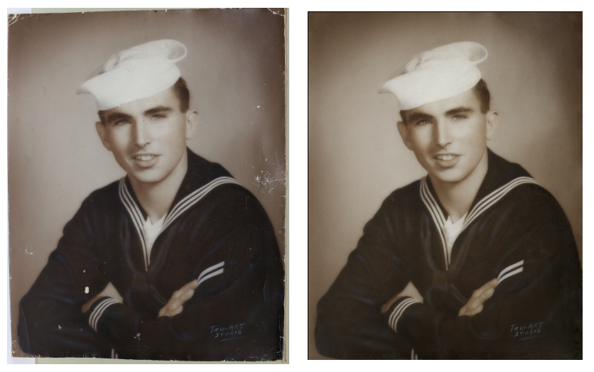 Navy Sailor Photo Restoration Before After