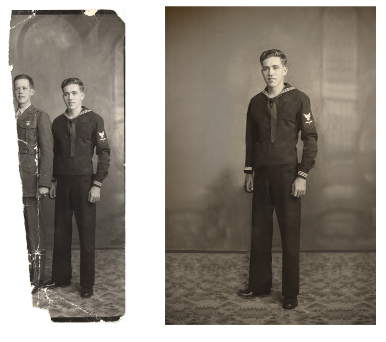 Sailor photograph before and after restoration