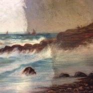 Seascape oil painting restored