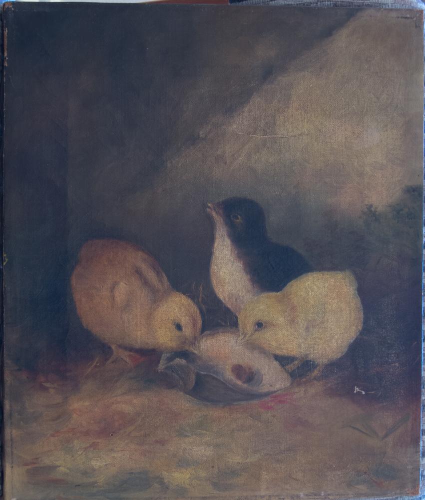 Baby-Chicks-Painting-Before-Restoration