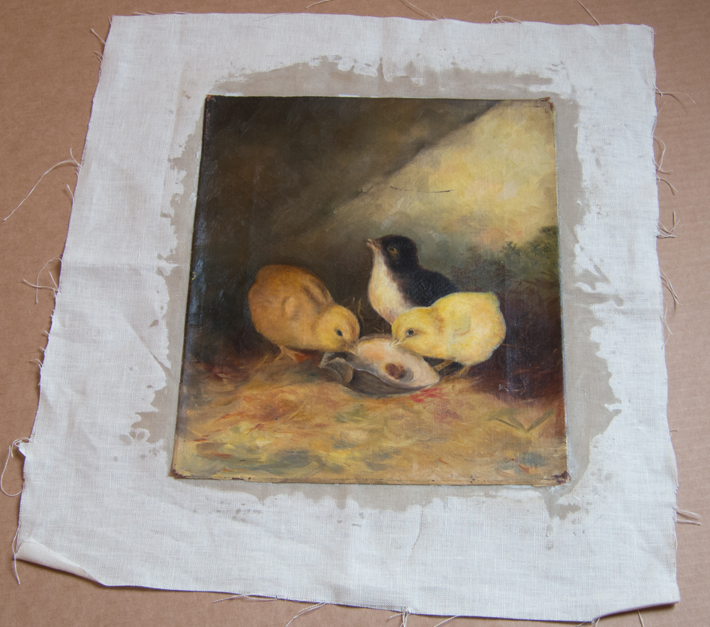 Baby-Chicks-Painting-Relined-Restoration