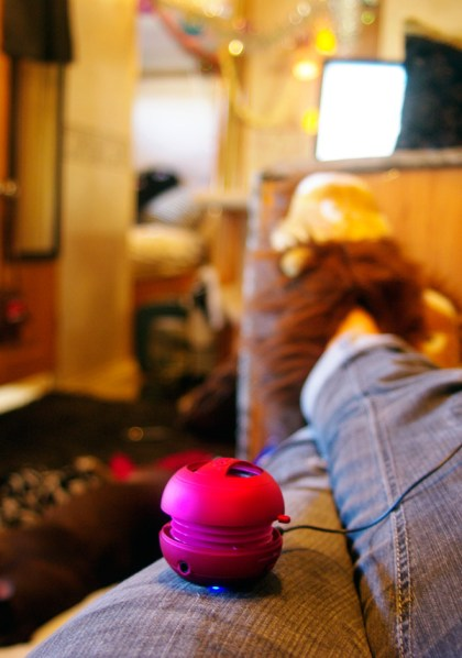 Relaxing with the x-mini speaker