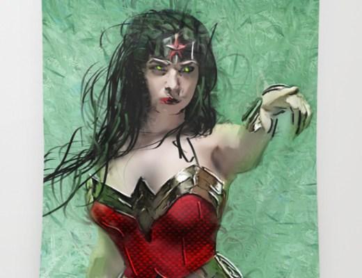 Superheroine Tapestry by  Andre Joseph Martin