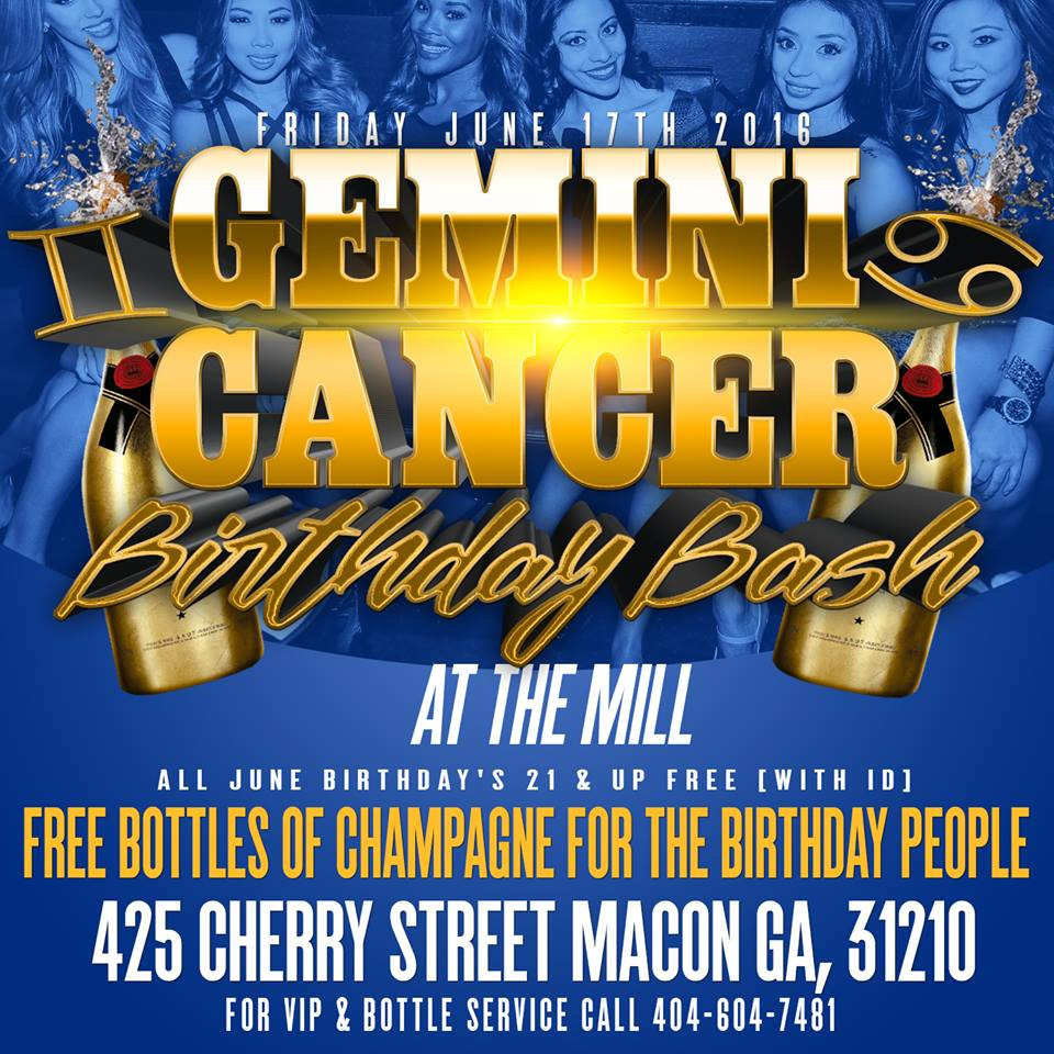 Gemini Cancer Birthday Bash at The Mill