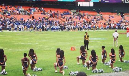 Howard's Cheerleaders Kneel During National Anthem