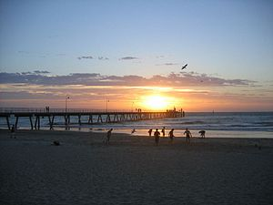 A sunset in Glenelg, a beach resort near Adelaide.