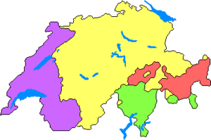 Language distribution in Switzerland ----- Fre...