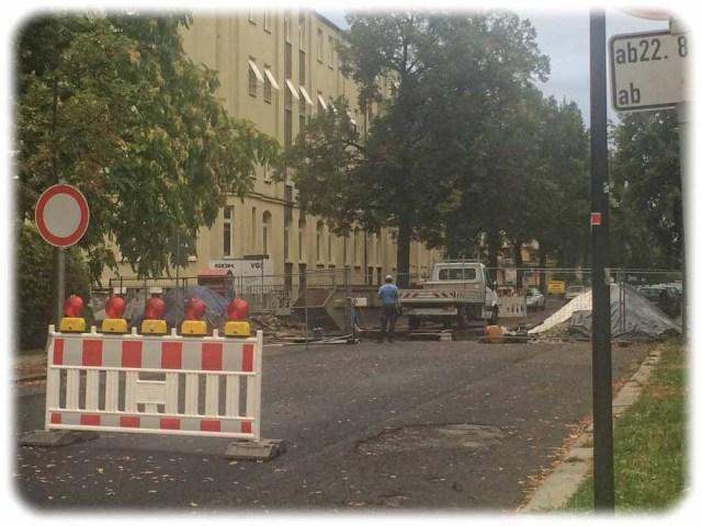 Inzwischen geräumt: Baustelel auf der Bärensteiner Straße. Foto: Heiko WeckbrodtInzwischen geräumt: Baustelel auf der Bärensteiner Straße. Foto: Heiko Weckbrodt