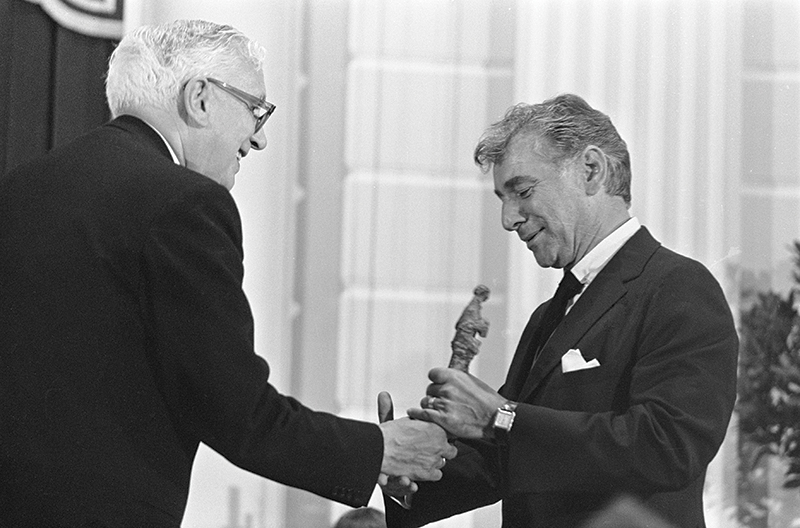 Leonard Bernstein receives an award at the Concertgebouw in Amsterdam