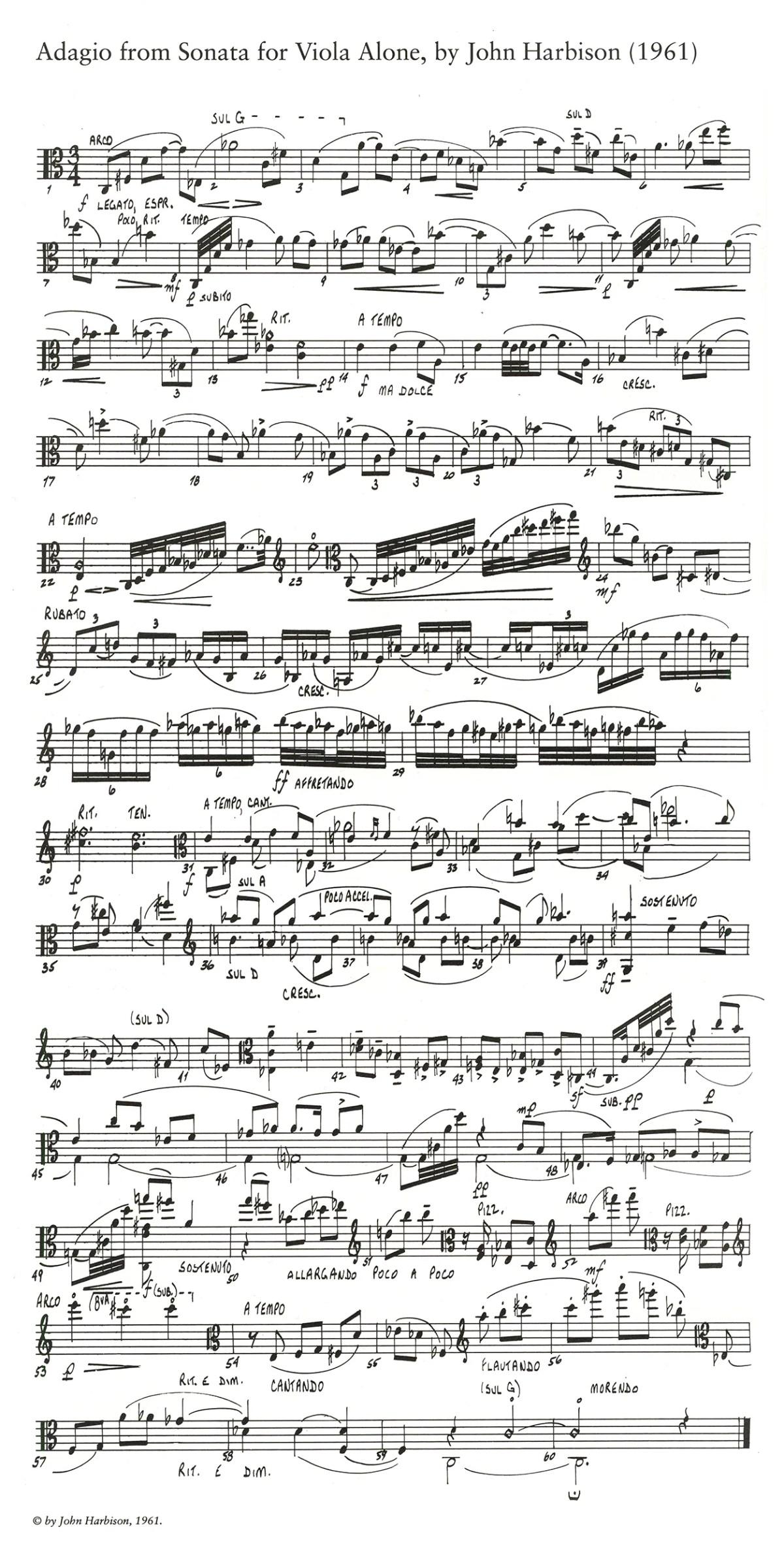 Adagio from Sonata for Viola Alone, 1961