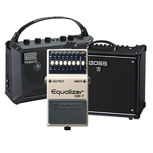 starter amp Roland's Mobile Cube, Boss' Katana 50 Combo Amplifier with effects, Boss' GE-7 Graphic Equalizer Pedal