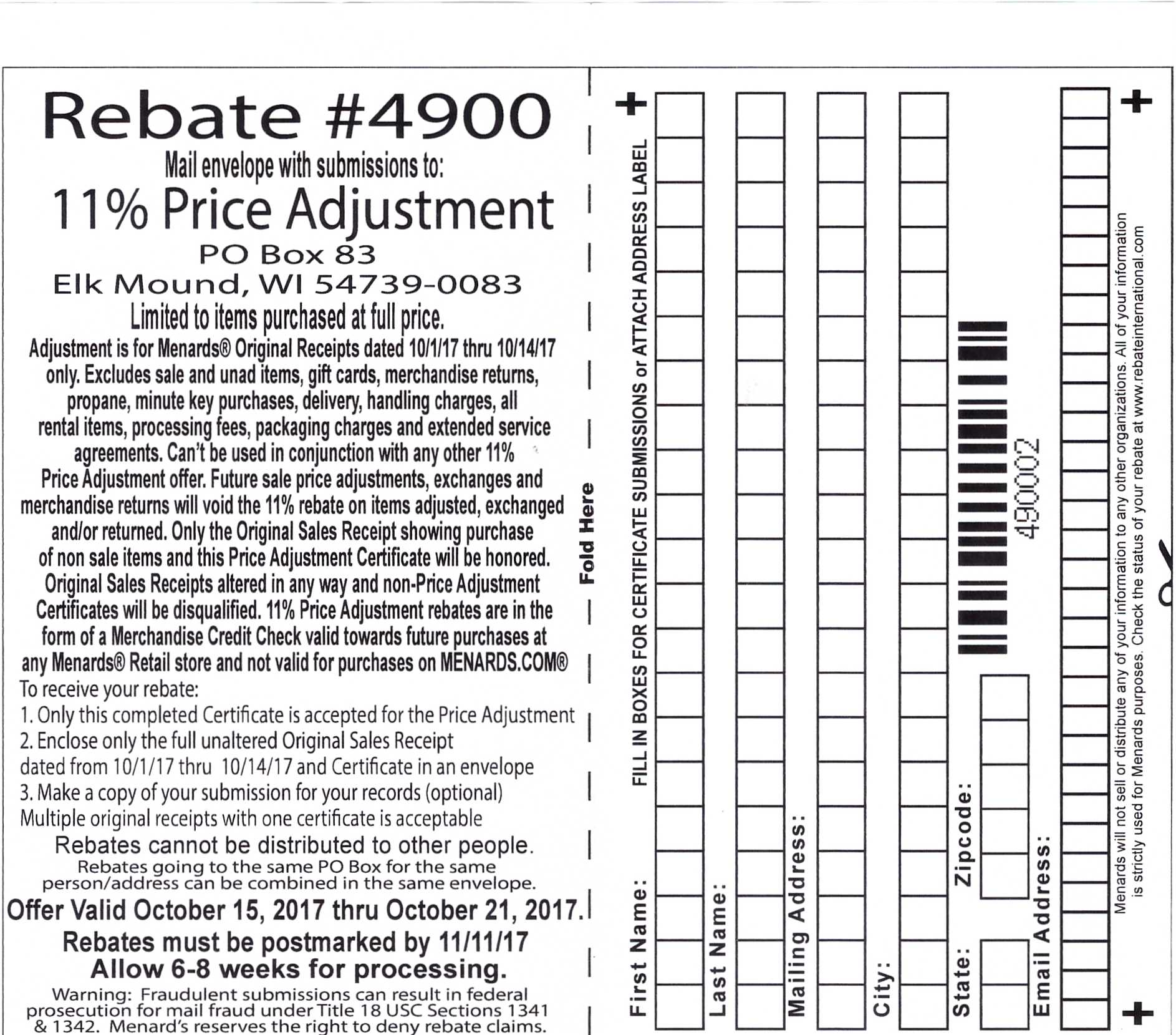 Menards 11% Price Adjustment Rebate - Purchases 10/1-10/14 ...