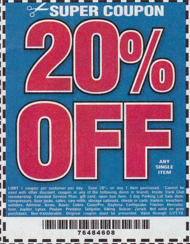 It's just a photo of Smart Printable Harbor Freight 20 Off Coupon