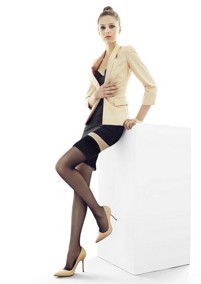 Raffinierte halterlose Strümpfe mit Fransen im Burlesque-Stil Coco von Marilyn, schwarz, Gr. S/M