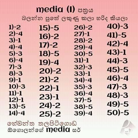 2016 AL Media MCQ Answers