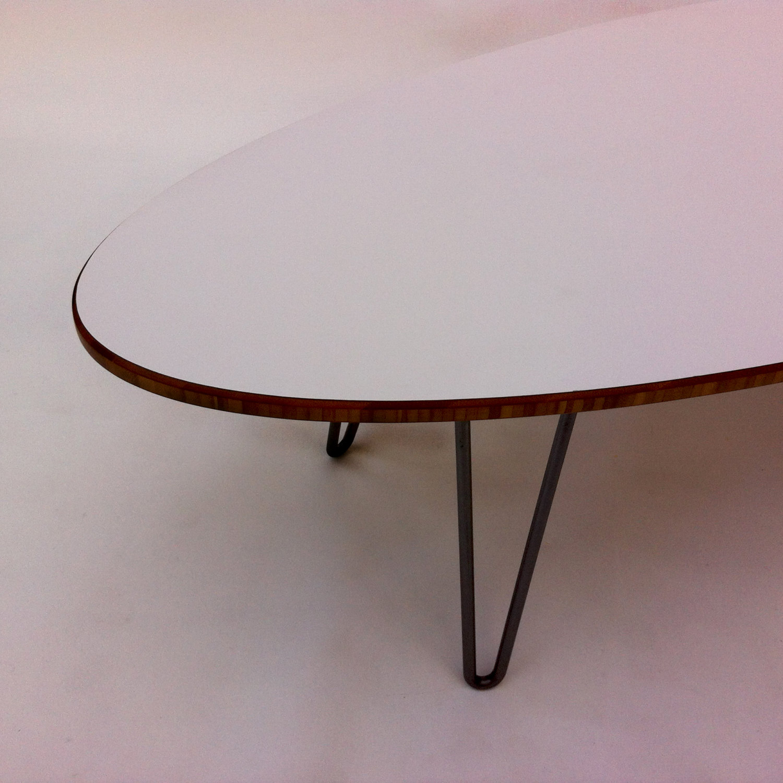 White Mid Century Modern Surf Board Coffee Table 66 Elliptical