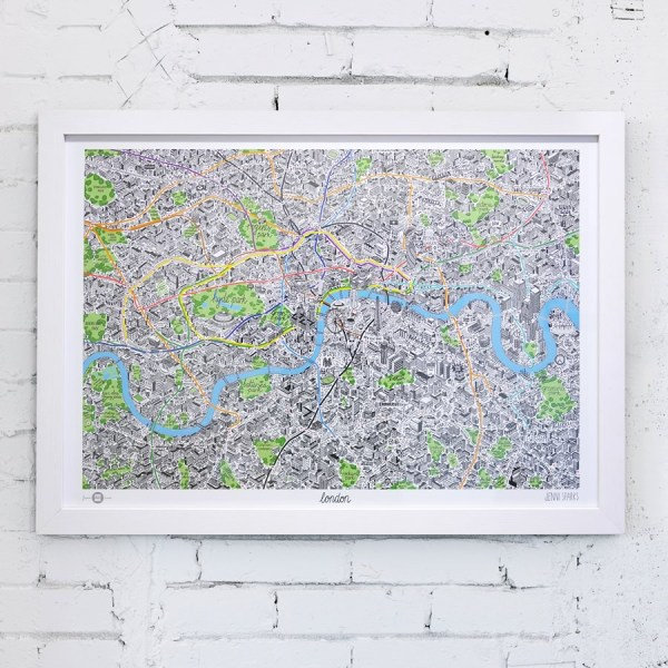 HAnd Drawn Map of London Art Print - White Frame