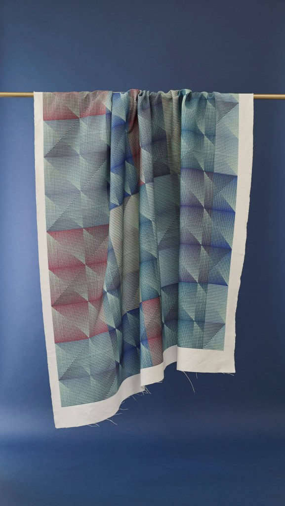 Checker Blues Fabric by Emma Jeffs at N&N Wares