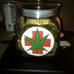 medical marijuana stash jar filled with weed