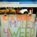 i need money for weed sign