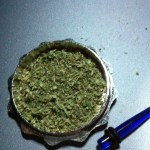 metal grinder with weed in it