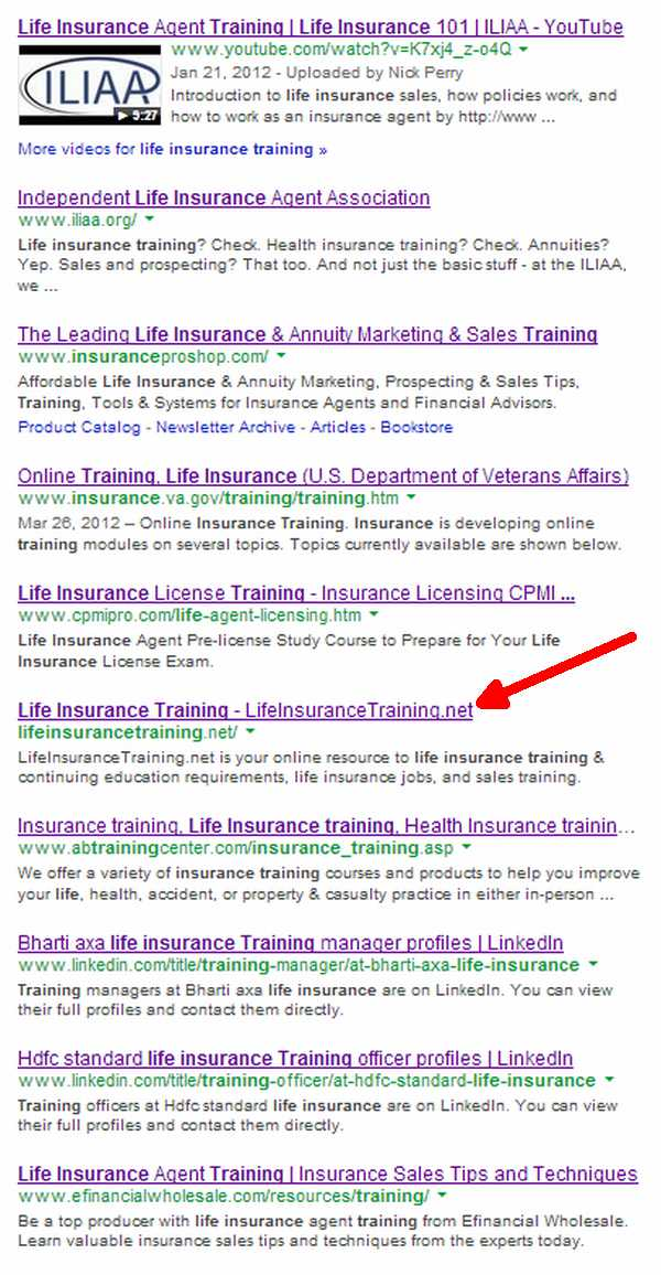 life_insurance_training_SERPs