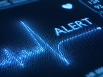 Flat line alert on heart monitor