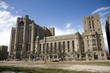 The Detroit Masonic Temple designed by George Mason in the Gothic Revival Style.