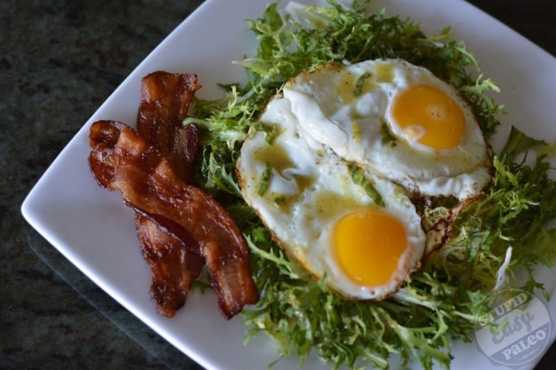 Frisee Salad with Bacon and Eggs | stupideasypaleo.com