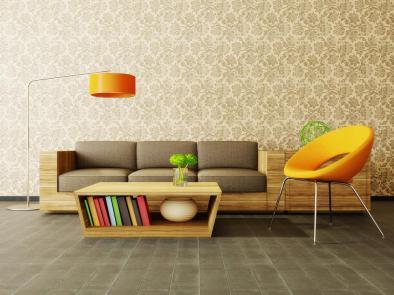 טפט מעוצב מדגיש את היופי והייחודיות של פינת הישיבה שלפנינו.