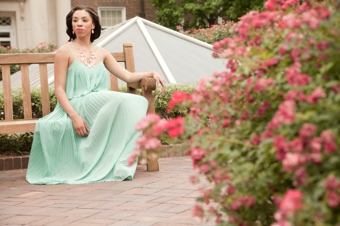 style_me_twice_kaylah_burton_charming_charlie_pink_necklace_set_forever_21_green_maxi_dress_badgley_mishcka_nude_heel_dallas_bloggers_smu_style