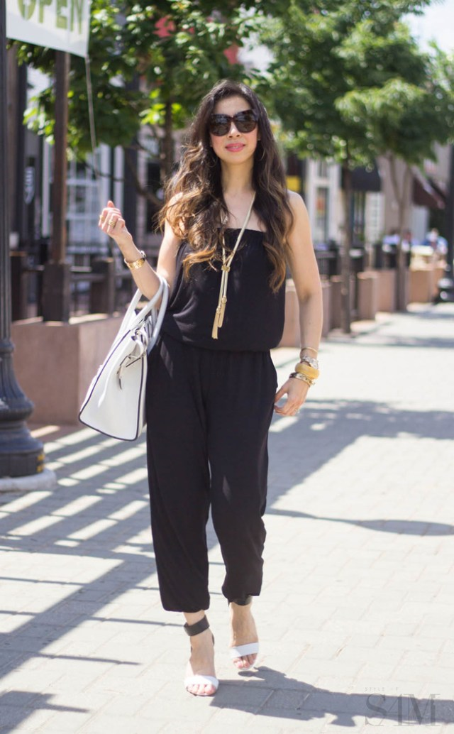 style of sam, cabi patio romper, strapless black jumpsuit, black and white outfit, lariat necklace, white celine luggage tote