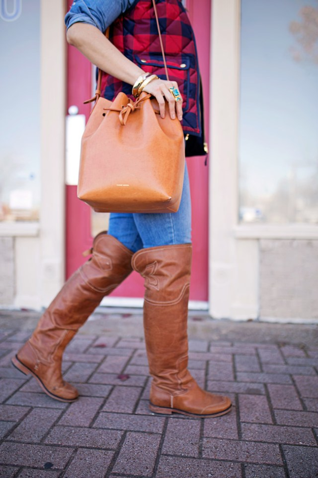jcrew buffalo check excursion vest, over the knee flat boots, wishing well intention acacia ring, mansur gavriel bucket bag