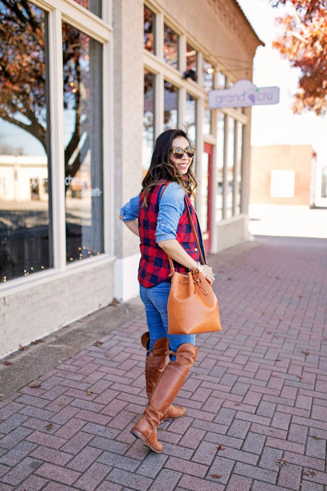 jcrew buffalo check excursion vest, over the knee boots, casual preppy winter ootd, mansur gavriel bucket bag