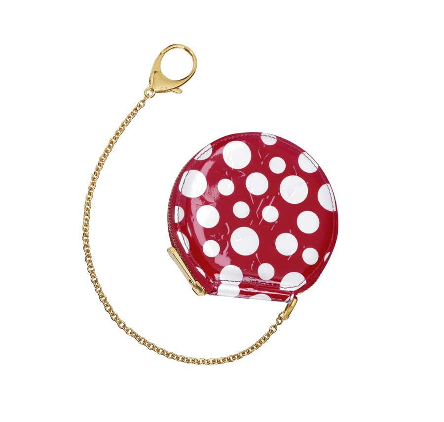 Yayoi Kusama Louis Vuitton Coin Purse Chapeau Monogram Vernis Dots Infinity red